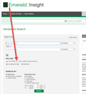 "Emerald Insight advanced search screen showing ""Include"" option"