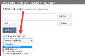 "JSTOR ""access type"" options on the advanced search page"