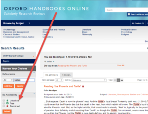 Oxford Handbooks Online search results page with availability options