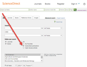 "ScienceDirect advanced search screen showing limiter for ""subscribed publications"""