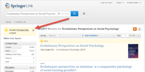 "SpringerLink option to deselect checkbox to ""Include Preview-Only content"""